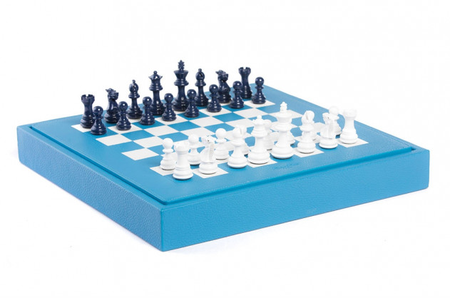 Chess box buffalo leather Light Blue