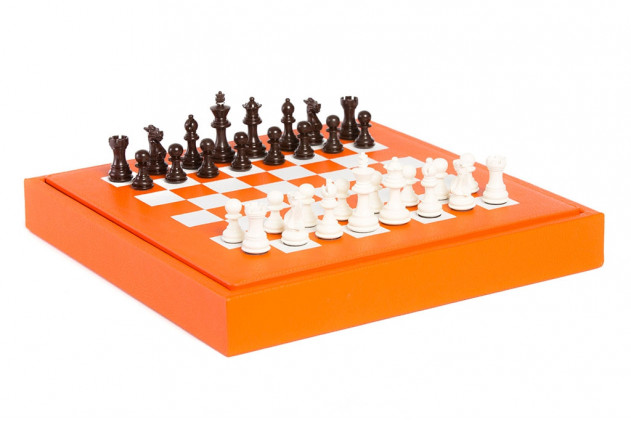 Chess box buffalo leather Orange