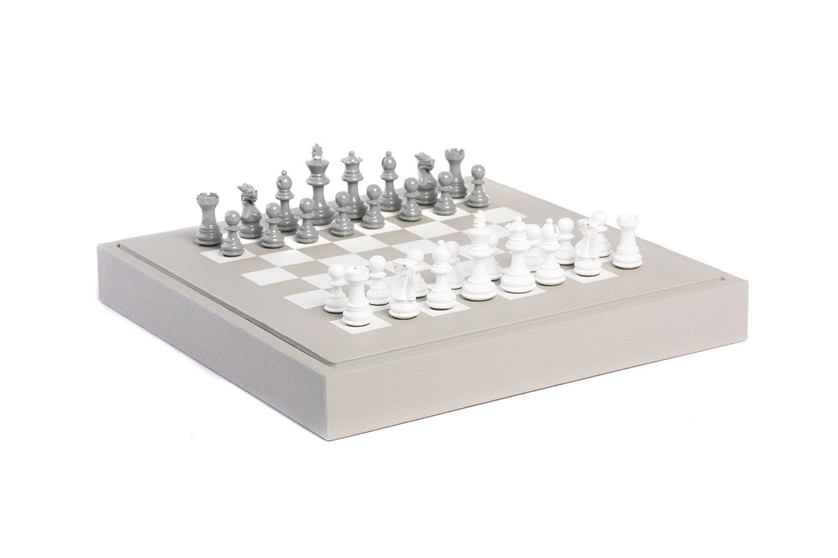 Chess box buffalo leather Perle