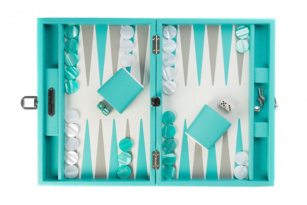 BAPTISTE - BACKGAMMON BUFFALO LEATHER MEDIUM TURQUOISE