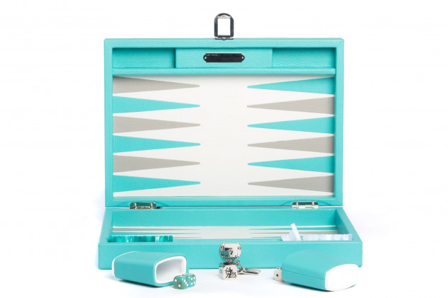 BAPTISTE - BACKGAMMON CUIR BUFFLE MEDIUM TURQUOISE