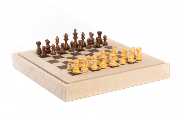 Chess box Alligator effect leather Cannelle