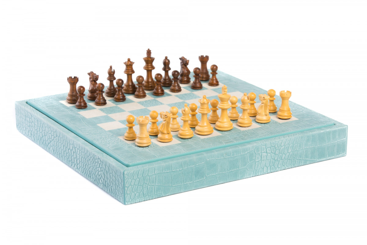 Chess box Alligator effect leather Turquoise