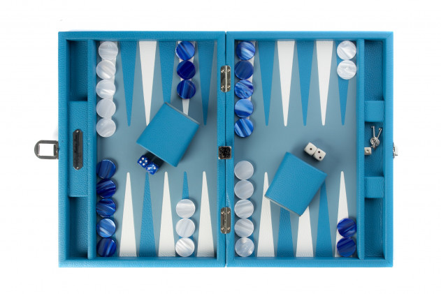 BAPTISTE - BACKGAMMON BUFFALO LEATHER MEDIUM BLEU