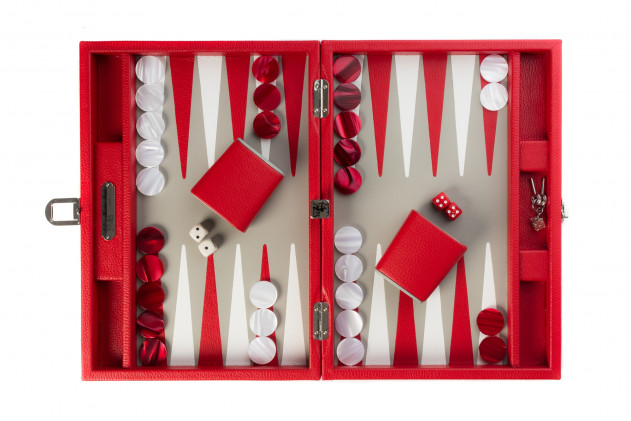 BAPTISTE - BACKGAMMON BUFFALO LEATHER MEDIUM RED