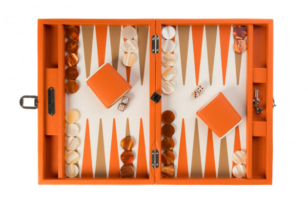 Baptiste - Backgammon leather buffalo medium Orange