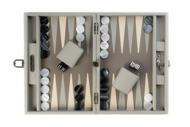 BACKGAMMON LEATHER BUFFALO MEDIUM GREY