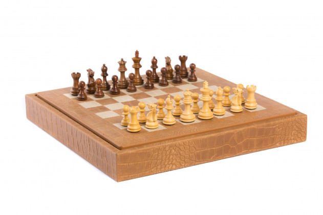 Chess box Alligator effect leather Ambre