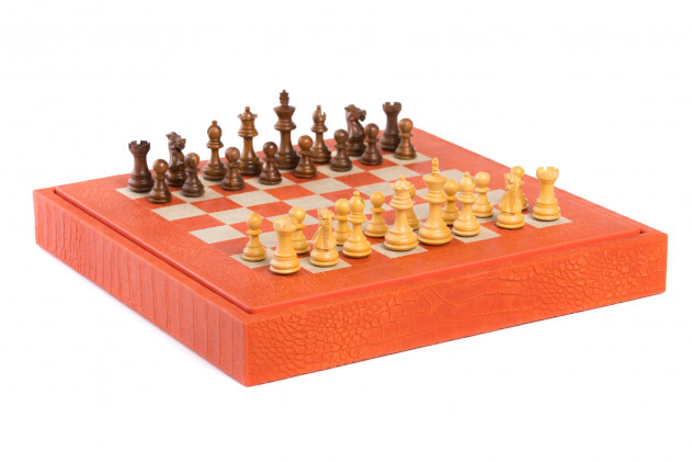 Chess box Alligator effect leather Orange