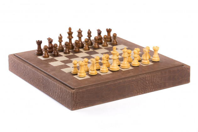 Chess box Alligator effect leather Havane
