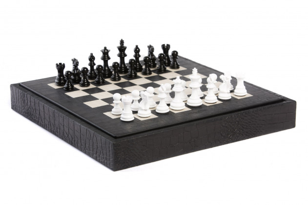 Chess box Alligator effect leather Black