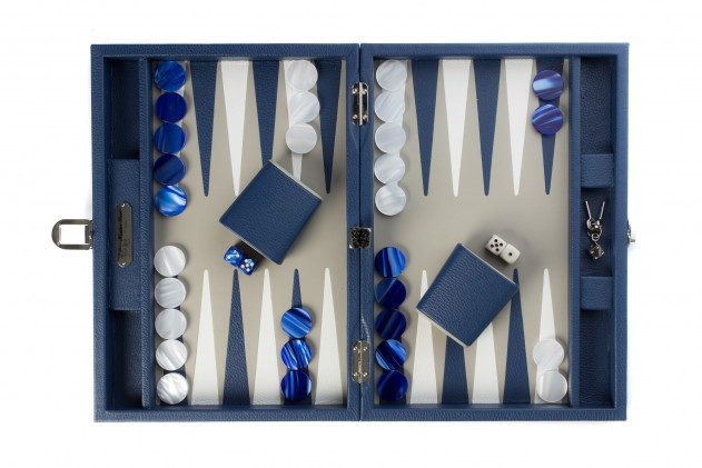 Baptiste - Backgammon leather buffalo medium French Blue