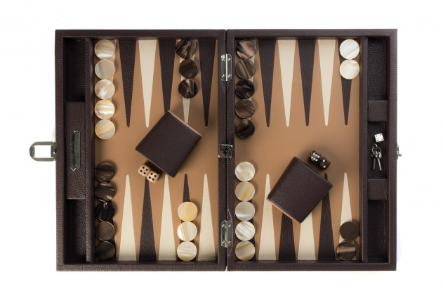 BACKGAMMON LEATHER BUFFALO MEDIUM BROWN