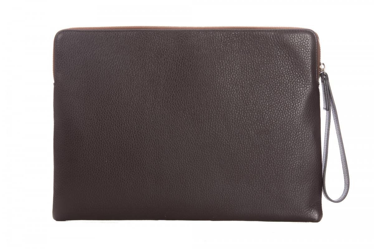 Paolo - Backgammon clutch buffalo leather Chocolate