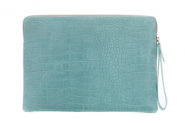 Paolo - Backgammon clutch couture alligator leather effect Turquoise