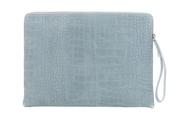 Paolo - Backgammon clutch couture alligator leather effect Ciel