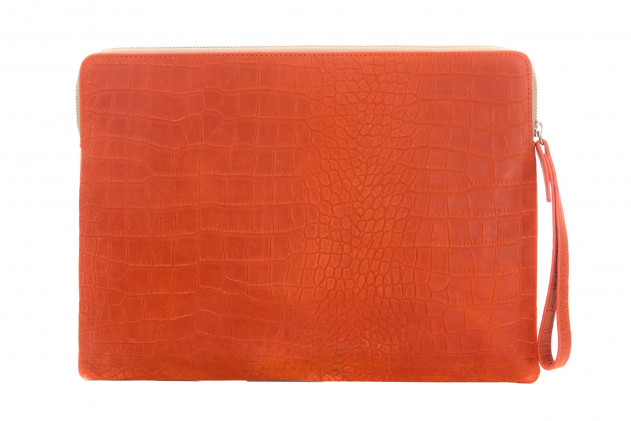 Paolo - Backgammon clutch couture alligator leather effect Corail