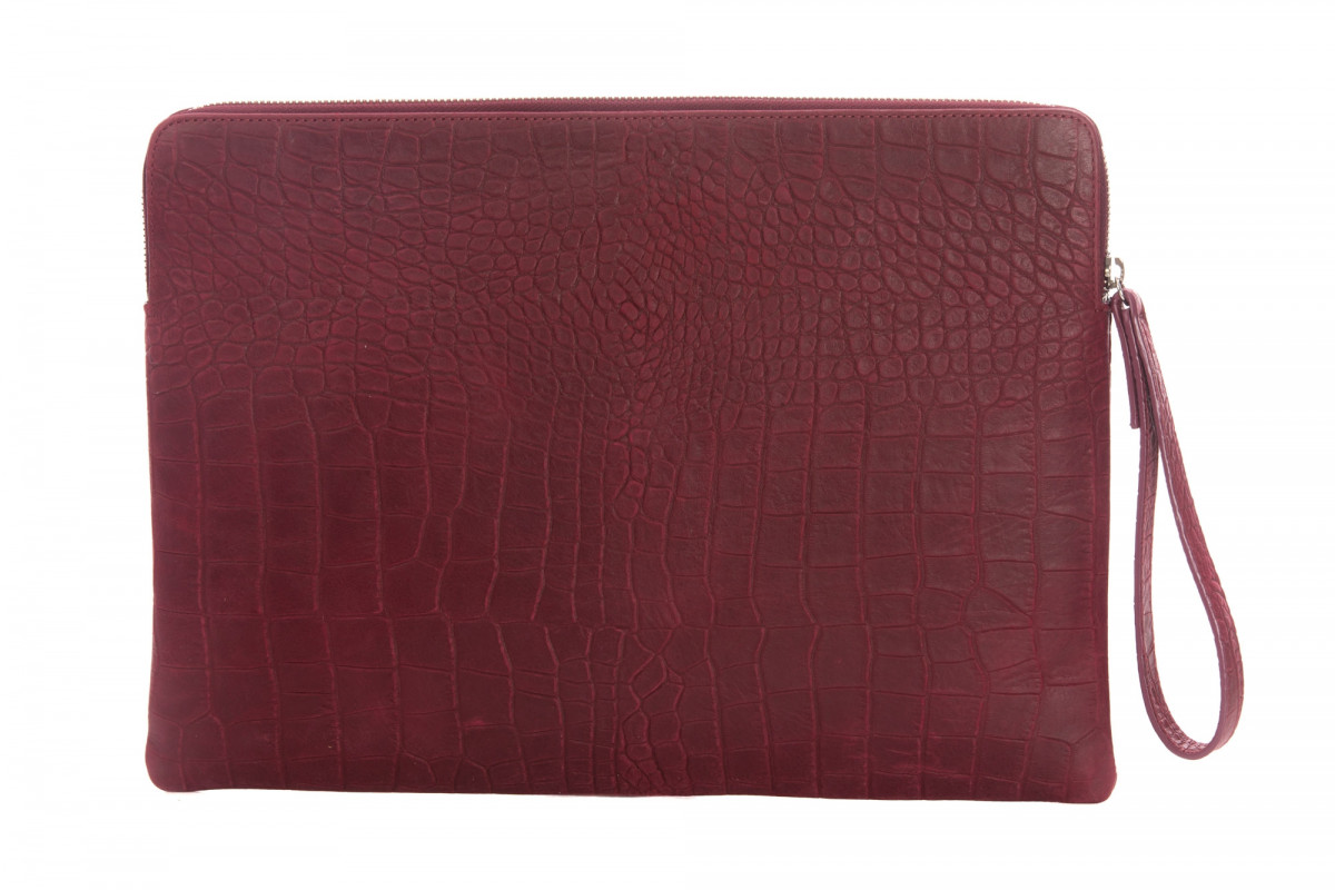 Paolo - Backgammon clutch couture alligator leather effect Rubis