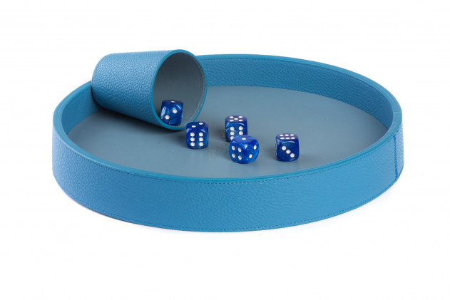 Dices board Buffalo leather Light Blue