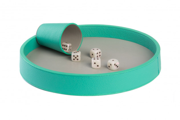 Dices board Buffalo leather Emeraude