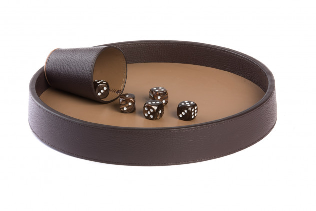 Dices board Buffalo leather Chocolate