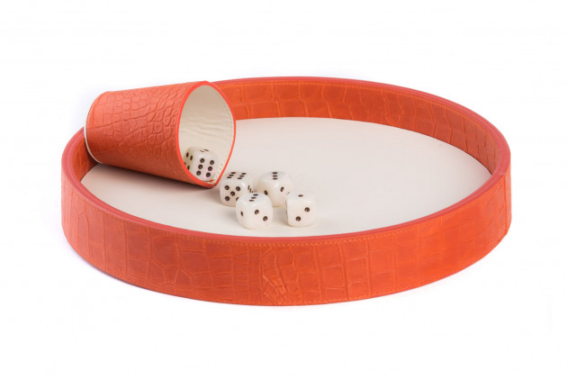Dices board Alligator leather effect Corail