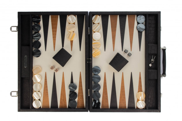 Alain - Backgammon Alligator leather effect competition Black