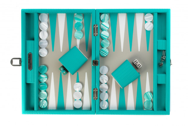 Camille - Backgammon Couture leather medium Turquoise