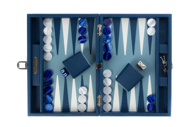 Camille - Backgammon Couture leather medium Blue