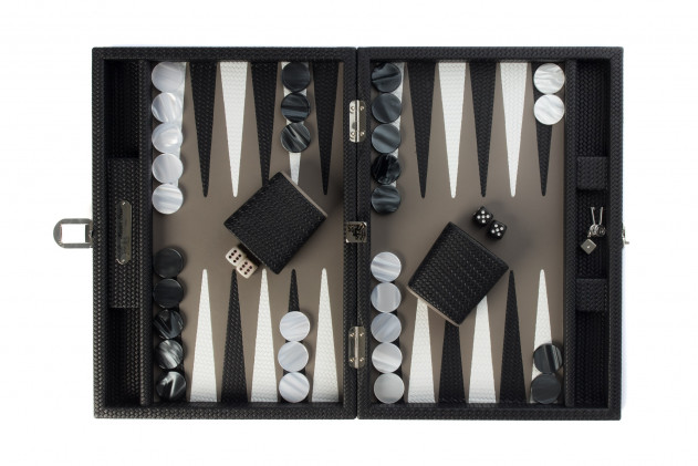 Camille - Backgammon Couture leather medium Black
