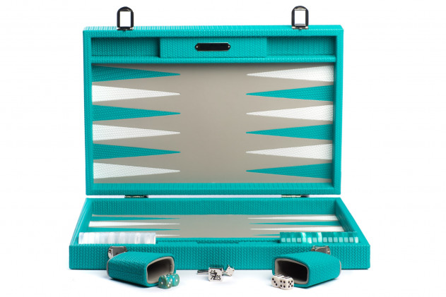 Camille - Backgammon couture leather large Turquoise