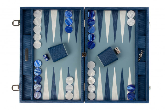 Camille - Backgammon Couture leather large Blue