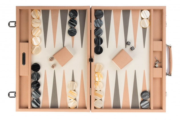 Camille - Backgammon couture leather competition Poudre