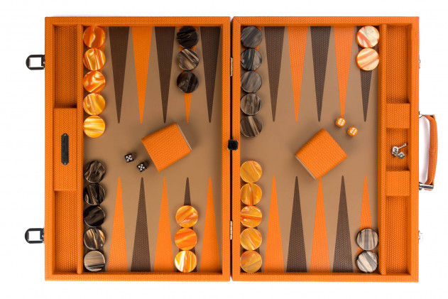 Camille - Backgammon couture leather competition Orange