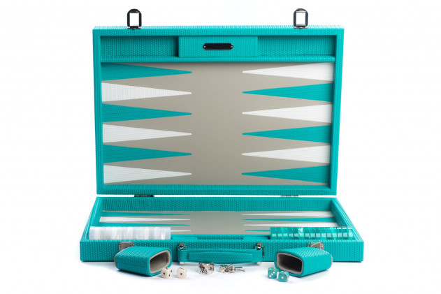Camille - Backgammon couture leather competition Turquoise