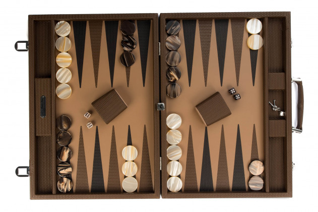 Camille - Backgammon couture leather competition Terre
