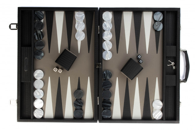 Camille - Backgammon couture leather competition Black