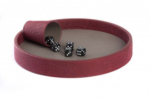 Dices board Alligator leather effect Rubis