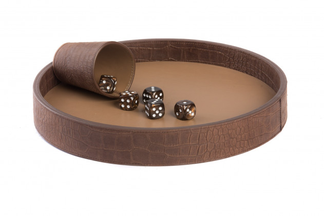 Dices board Alligator leather effect Havane