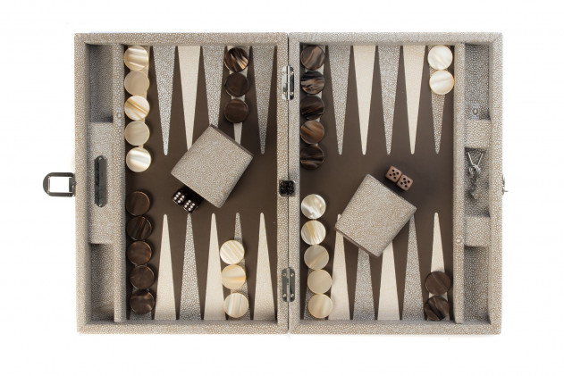 Gabin - Backgammon Shagreen leather effect medium Taupe