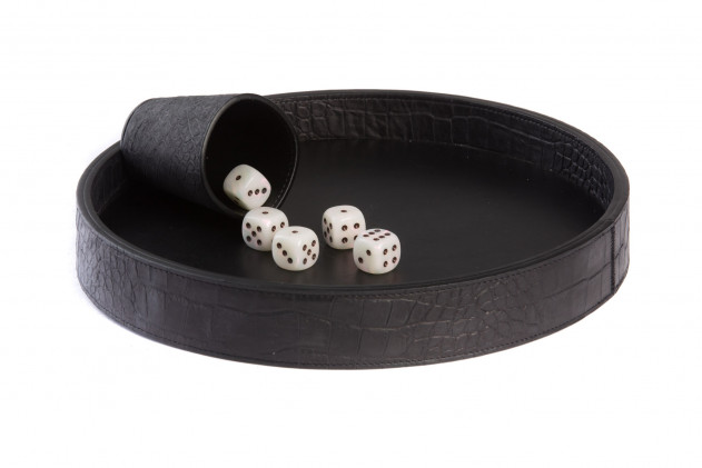 Dices board Alligator leather effect Black