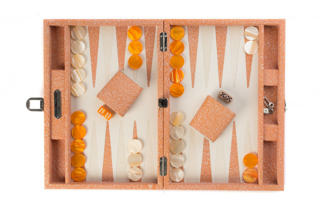 Gabin - Backgammon Shagreen effect leather medium Orange
