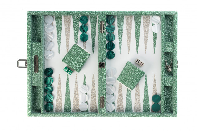 Gabin - Backgammon Shagreen effect leather medium Green