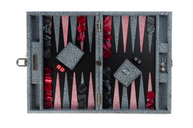 Gabin - Backgammon Shagreen effect leather medium Black