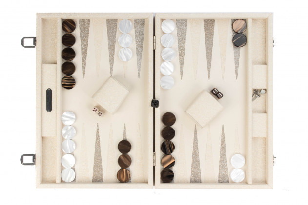 Gabin - Backgammon Galuchat leather effect large Beige