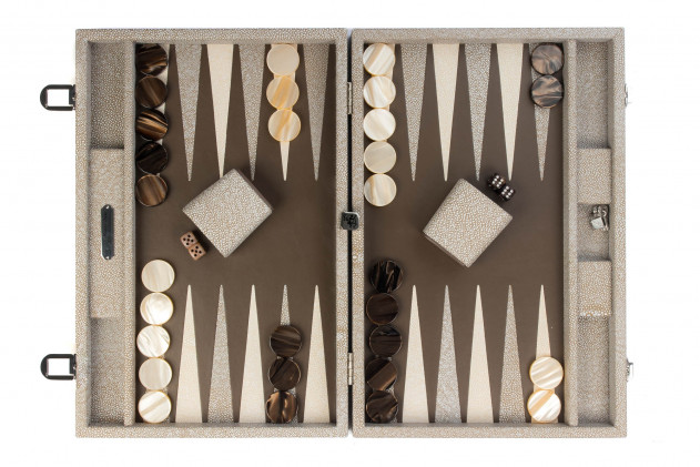 Gabin - Backgammon Shagreen effect leather large Taupe
