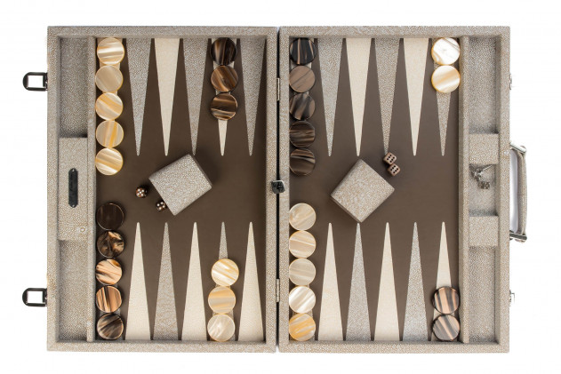 Gabin - Backgammon Shagreen leather effect competition Taupe