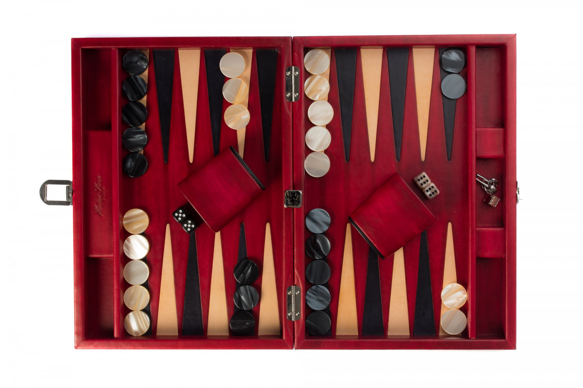 Louis - Backgammon medium patinable leather Red
