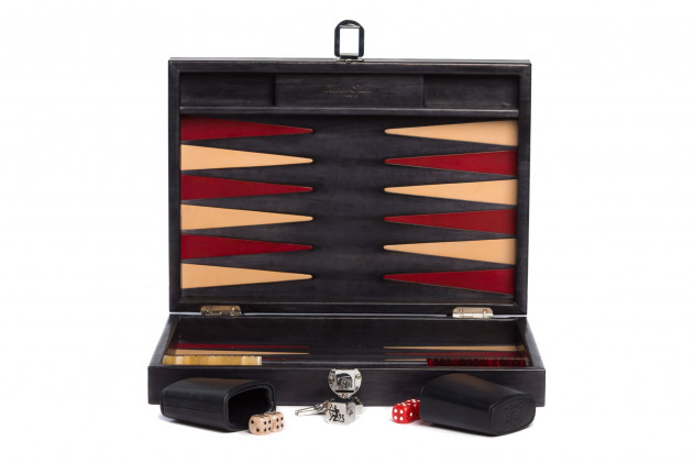 Louis - Backgammon medium patinable leather Anthracite