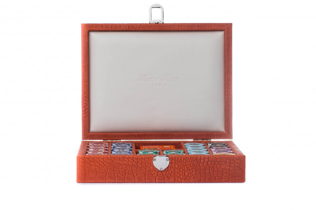 Poker set alligator leather effect Corail